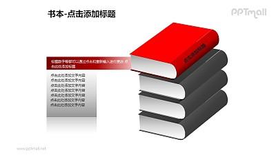 书本——1+3红色的书PPT图形模板