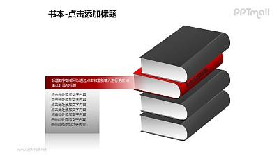 书本——1+3红色的书层次关系PPT图形模板