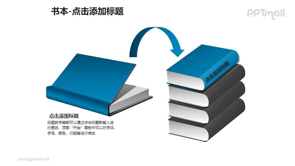 书本——1+4叠放的蓝色书本PPT图形模板