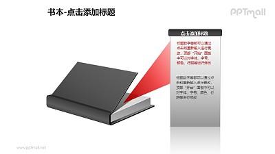 书本——打开的书+气泡文本框PPT图形模板