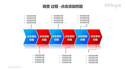 调查——6个V型箭头流程关系PPT素材模板