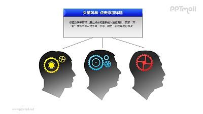 头脑风暴——1+3并列的人物头像PPT素材模板