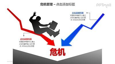 危机管理——商务人士+红蓝2个下降的箭头PPT素材模板
