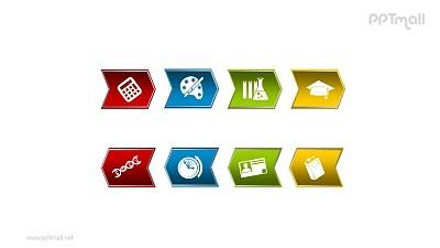 文本框——上下两组(8个)箭头组成的图形PPT素材模板