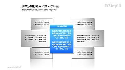 1+6蓝色文本框简洁风格PPT素材模板