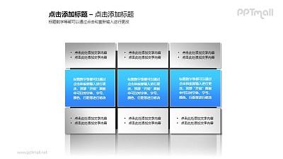 3组并列蓝色简洁风文本框PPT素材模板