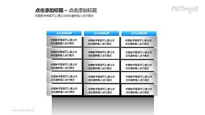 3组(12个)并列的蓝色文本框PPT素材模板