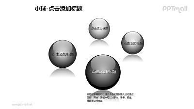 小球——4个黑色的玻璃球PPT模板素材