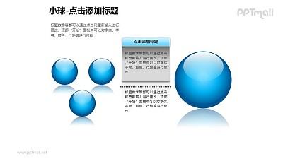 小球——1+3蓝色玻璃球PPT模板素材