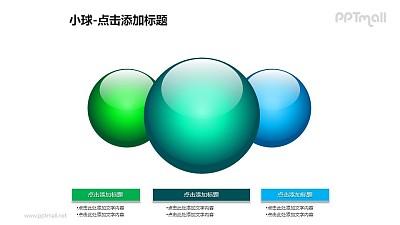 小球——3个蓝绿色玻璃球+文本框PPT模板素材