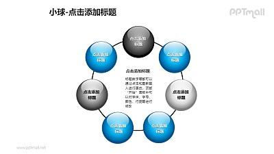 小球——7个围成环形的玻璃球PPT模板素材