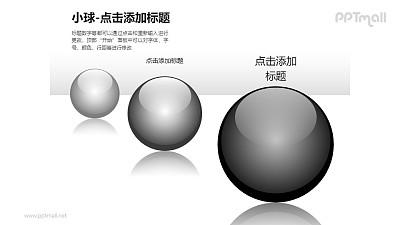 小球——3个黑色玻璃球递进关系PPT模板素材