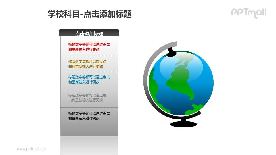 学校科目——文本框+地球仪PPT素材模板