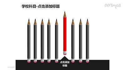 学校科目——1+8红色铅笔PPT素材模板