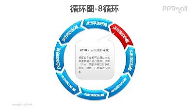 循环图——8部分循环递进图+文本框PPT素材模板