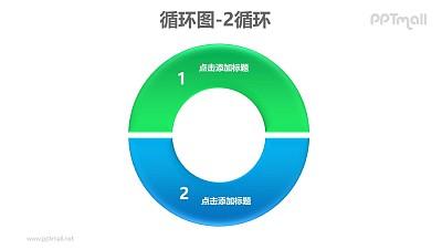 循环图——蓝绿2部分循环关系PPT素材模板