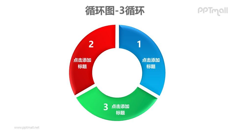 循环图——红蓝绿3部分循环关系PPT素材模板
