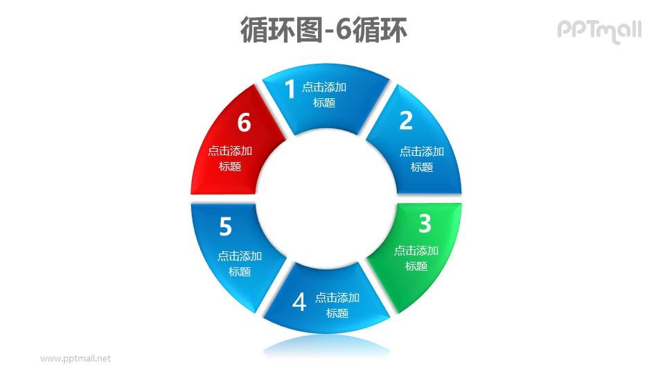 循环图——6部分循环关系PPT素材模板