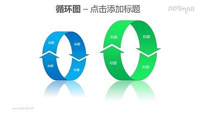 循环图——蓝绿两组立体循环箭头PPT素材模板