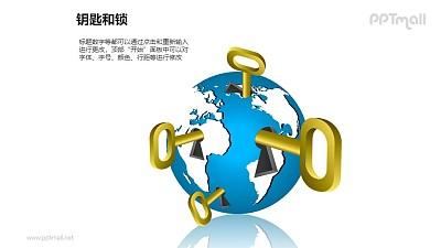 钥匙和锁——4把插入地球的钥匙PPT素材模板