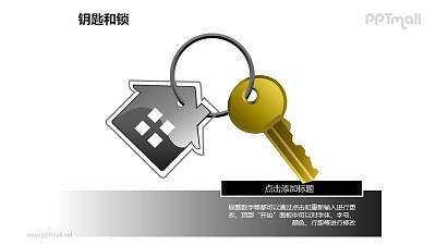 钥匙和锁——钥匙环上的房屋挂件PPT素材模板