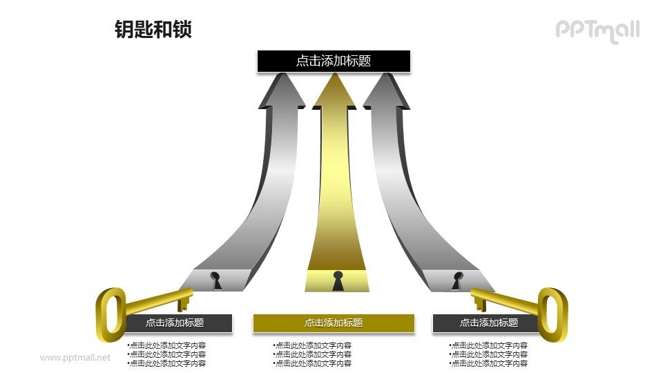3D立体箭头+钥匙PPT素材模板