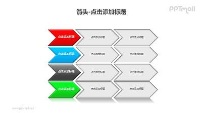 箭头——四组横向排列的箭头组成的流程图PPT模板素材下载