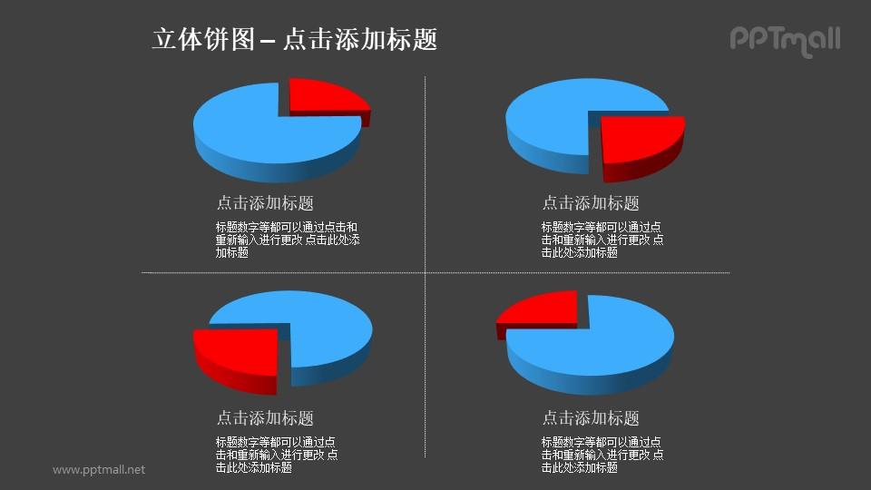 立体饼图——4个不同角度红蓝对比关系饼状图PPT模板素材