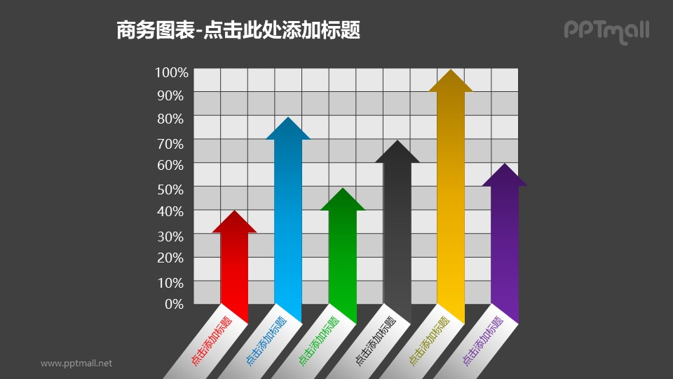商务图表——箭头样式的上升百分比PPT模板素材