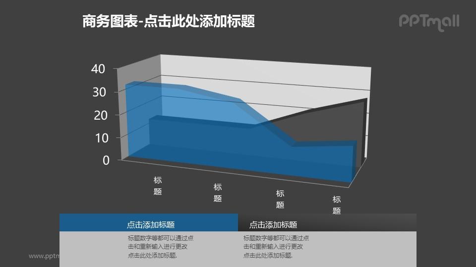 商务图表——蓝色半透明三维面积图PPT图形素材