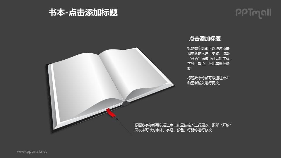 书本——一本书+文本框PPT图形模板