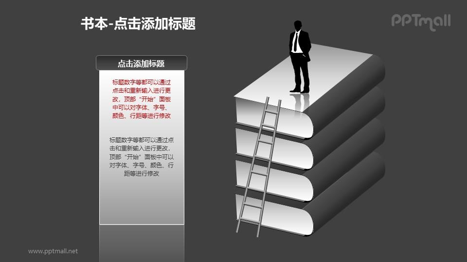 书本——站在一摞书上的商务人士PPT图形模板