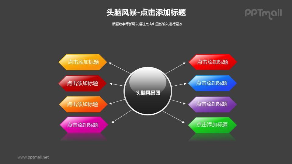 头脑风暴——圆球+8个彩色箭头的PPT素材模板