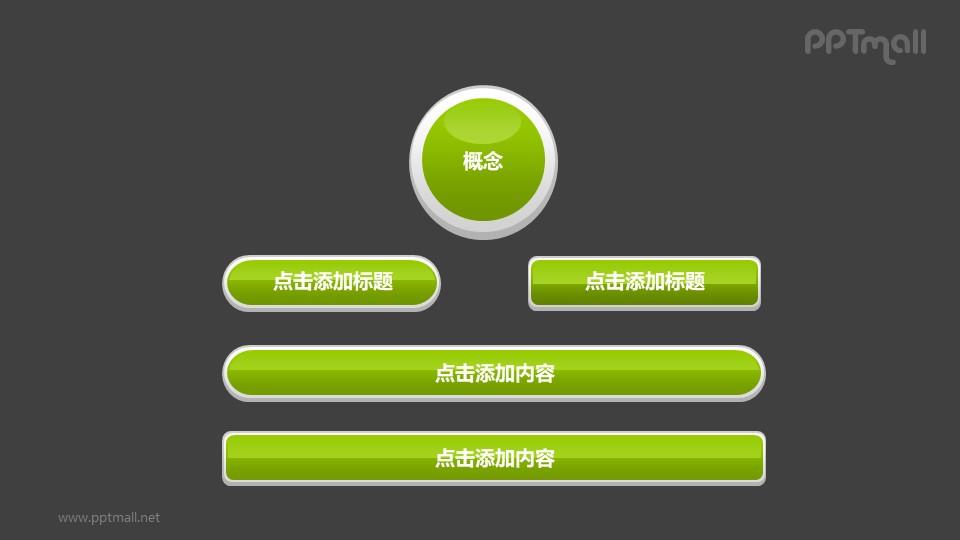 文本框——绿色概念图PPT素材模板