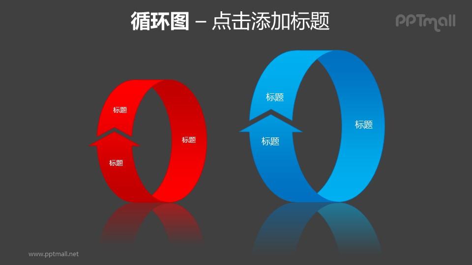 循环图——红蓝两组立体循环箭头PPT素材模板