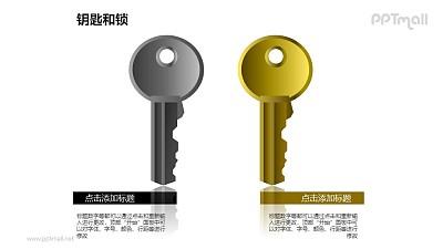 钥匙和锁——并列摆放的2把钥匙PPT素材模板