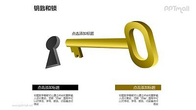 钥匙孔+金色的钥匙PPT素材模板