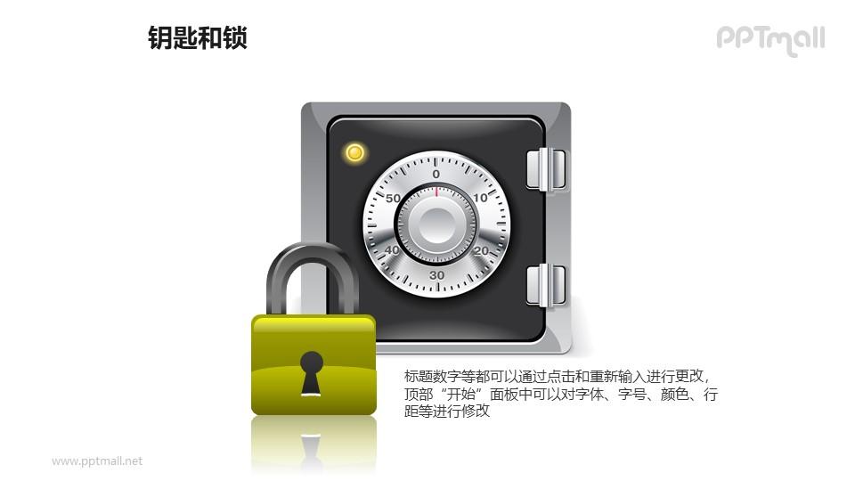 金色的锁+保险箱PPT素材模板