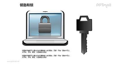 钥匙和锁——电脑加密与解密PPT素材模板