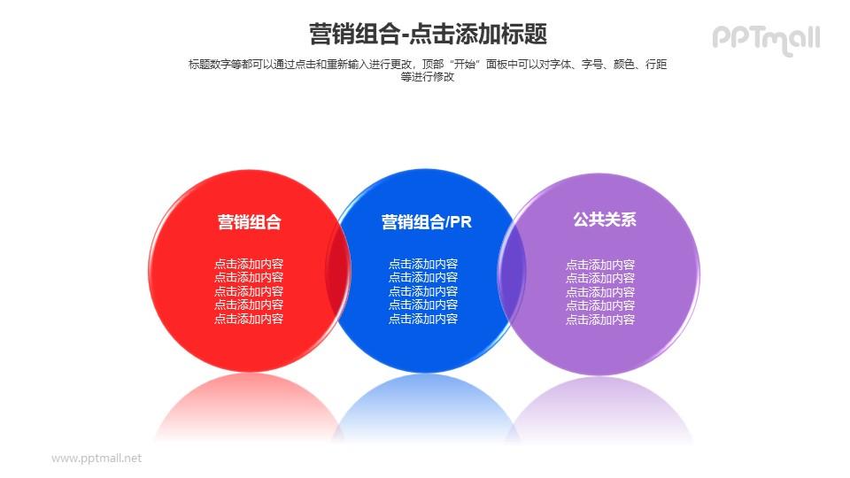 营销组合——三个并列的半透明圆形PPT模板下载