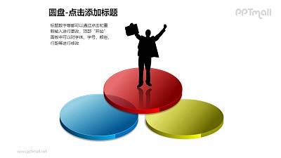 圆盘——站在文氏图上的商务人士PPT模板下载