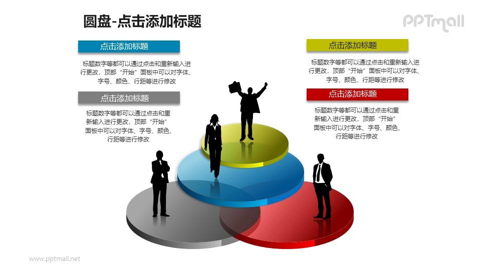 4个站在圆盘上的商务人士PPT模板下载
