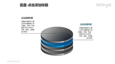1+3堆积的蓝色半透明立体圆盘PPT模板下载