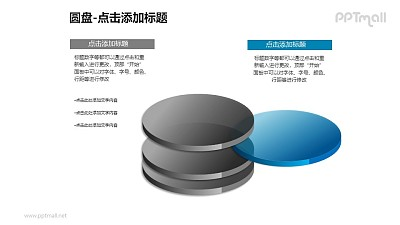 1+3分离的蓝色半透明立体圆盘PPT模板下载