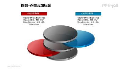 3+2分离的红蓝半透明立体圆盘PPT模板下载