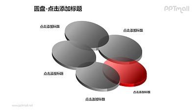 圆盘——1+4半透明立体文氏图PPT模板下载