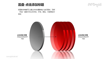 1+4红色半透明立体圆盘PPT模板下载
