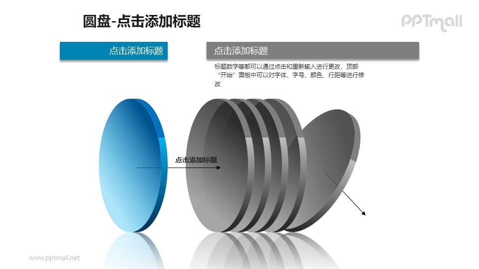 1+5蓝色半透明立体圆盘PPT模板下载