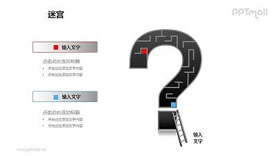 问号中的迷宫+梯子PPT模板下载(2)
