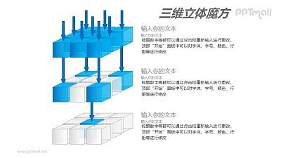 蓝色半透明三阶魔方分解图PPT模板素材(1)
